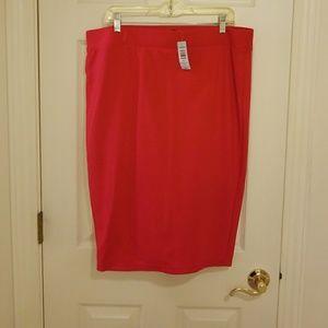 Torrid Red Ponte Midi Pencil Skirt